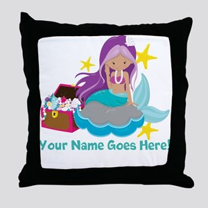 Purple Mermaid Throw Pillow